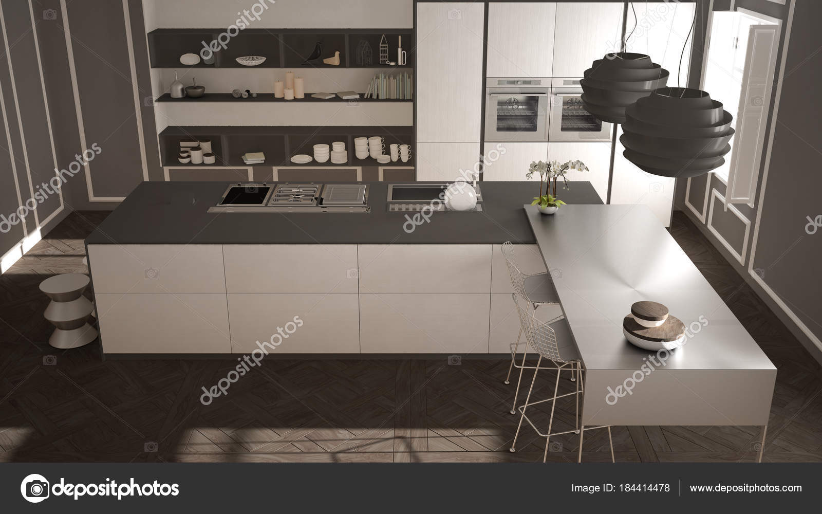 modern kitchen stools redoing 现代厨房在古典内饰 海岛与凳子和二个大窗口 顶部看法 白色和灰色建筑