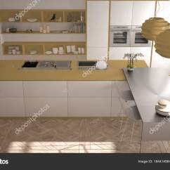Modern Kitchen Stools Stainless Steel Faucet With Pull-down Spray 现代厨房在古典内饰 海岛与凳子和二个大窗口 顶部看法 白色和黄色建筑