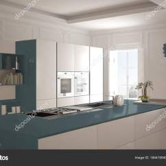 Navy Blue Kitchen Decor Bistro Decorating Ideas 现代厨房在古典内部 海岛与凳子和二个大窗口 白色和蓝色海军建筑室内 白色和蓝色海军建筑室内设计 照片作者archiviz