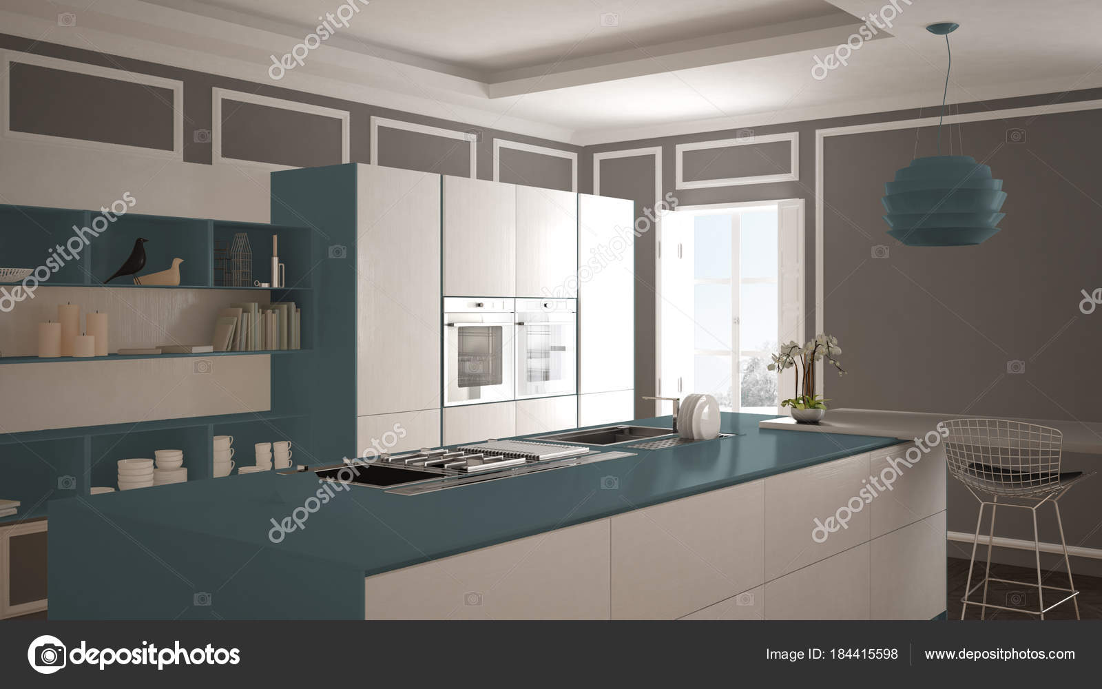 modern kitchen stools commercial sink drain parts 现代厨房在古典内部 海岛与凳子和二个大窗口 白色和蓝色海军建筑室内 白色