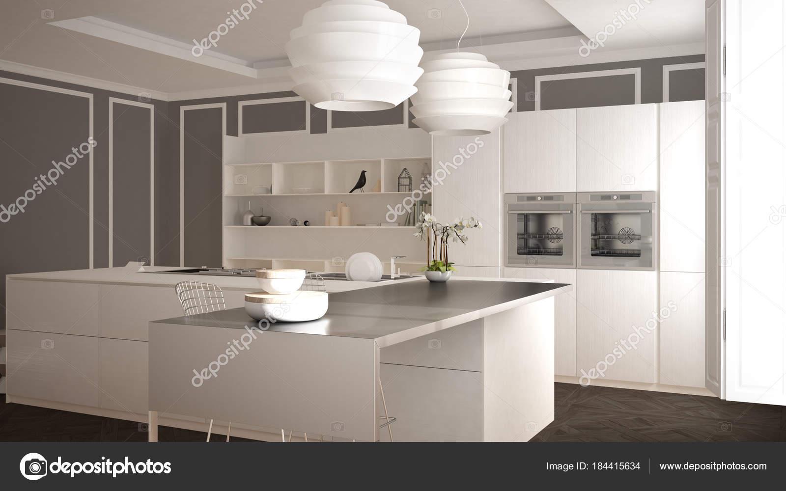 modern kitchen stools chandeliers home depot 现代厨房在古典内饰 海岛与凳子和二个大窗口 白色和灰色建筑学室内设计