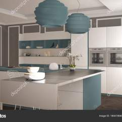 Navy Blue Kitchen Decor Pots 现代厨房在古典内部 海岛与凳子和二个大窗口 白色和蓝色海军建筑室内 白色和蓝色海军建筑室内设计 照片作者archiviz