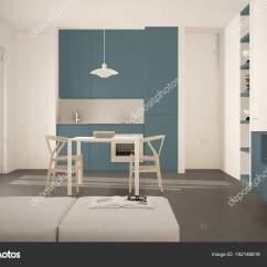 Blue Kitchen Chairs Unique Backsplash 简约现代明亮的厨房与餐桌和椅子 大窗户 白色和蓝色建筑室内设计 图库 照片作者archiviz