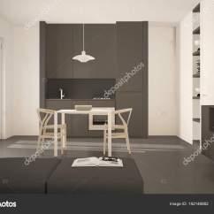 Gray Kitchen Chairs Countertop Ideas 简约现代明亮的厨房与餐桌和椅子 大窗户 白色和灰色建筑室内设计 图库 白色和灰色