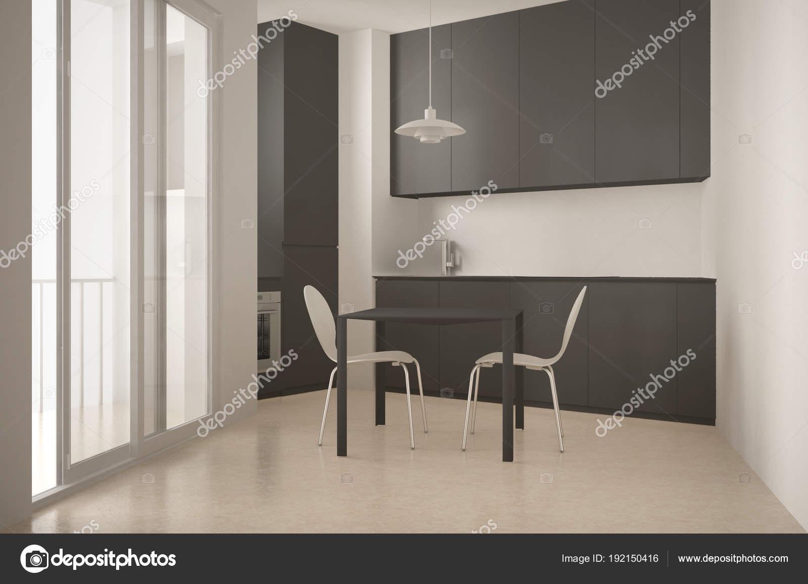 gray kitchen chairs rta cabinets reviews 简约现代厨房 配有椅子 白色和灰色建筑室内设计的大窗户和餐桌 图库 白色和灰色建筑室内设计的大