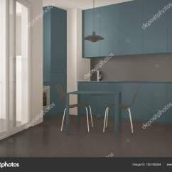 Blue Kitchen Chairs Polished Brass Faucet 简约现代厨房 配有椅子 灰色和蓝色建筑室内设计的大窗户和餐桌 图库 灰色和蓝色建筑室内设计的