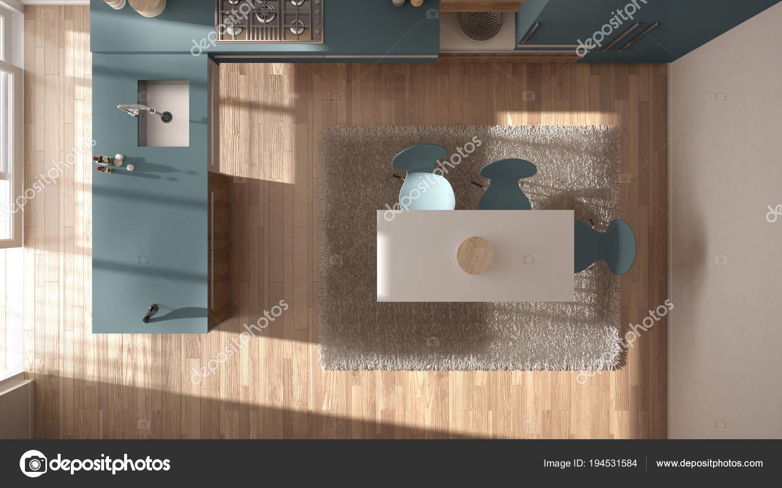 blue kitchen rugs drawer inserts for spices 顶级景观 现代简约木制厨房与餐桌和地毯 白色和蓝色建筑室内设计 图库 照片作者archiviz