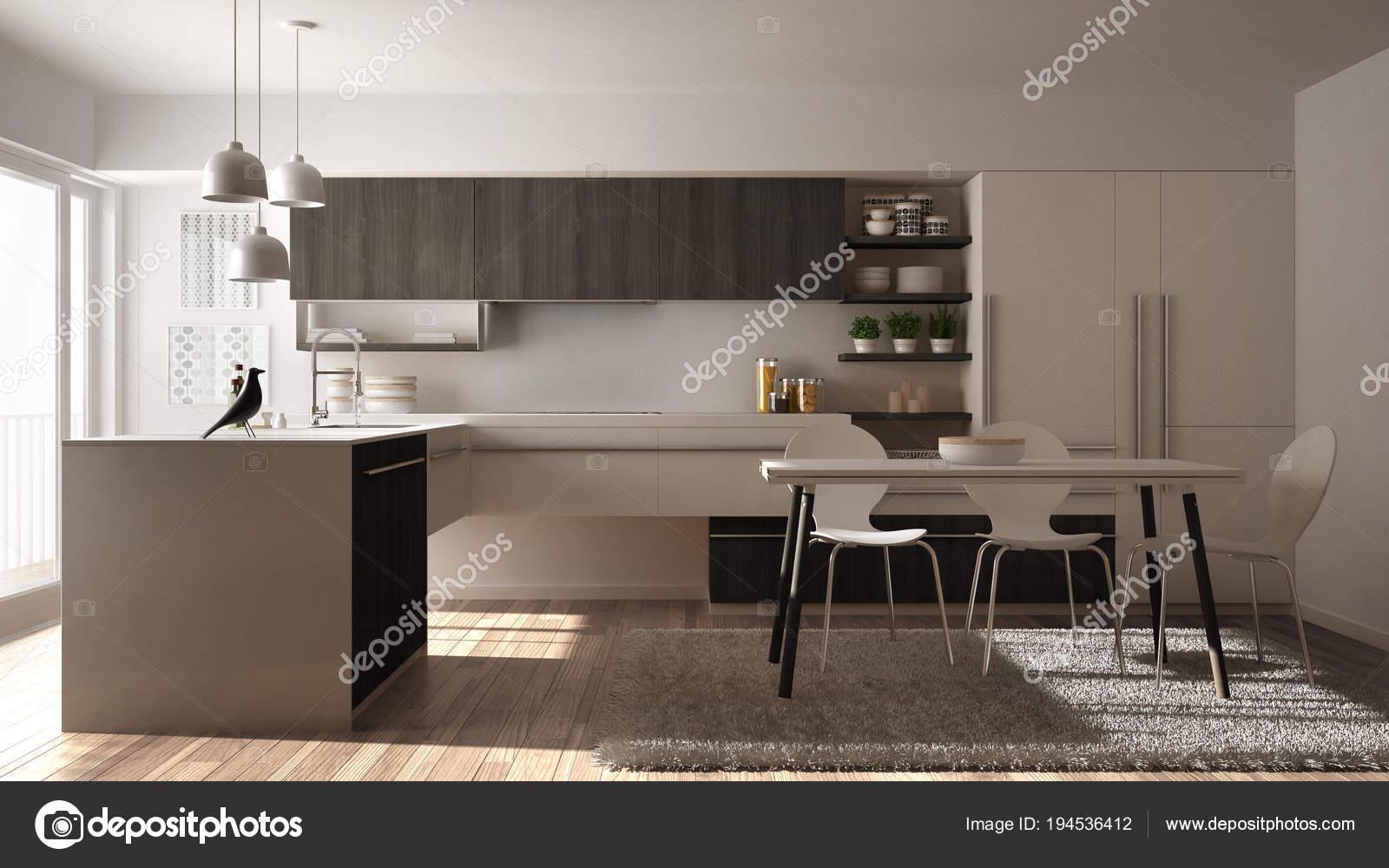 grey kitchen rugs unfinished wall cabinets 现代简约木制厨房配有餐桌 地毯 全景窗 白灰色建筑室内设计 图库照片 白灰色