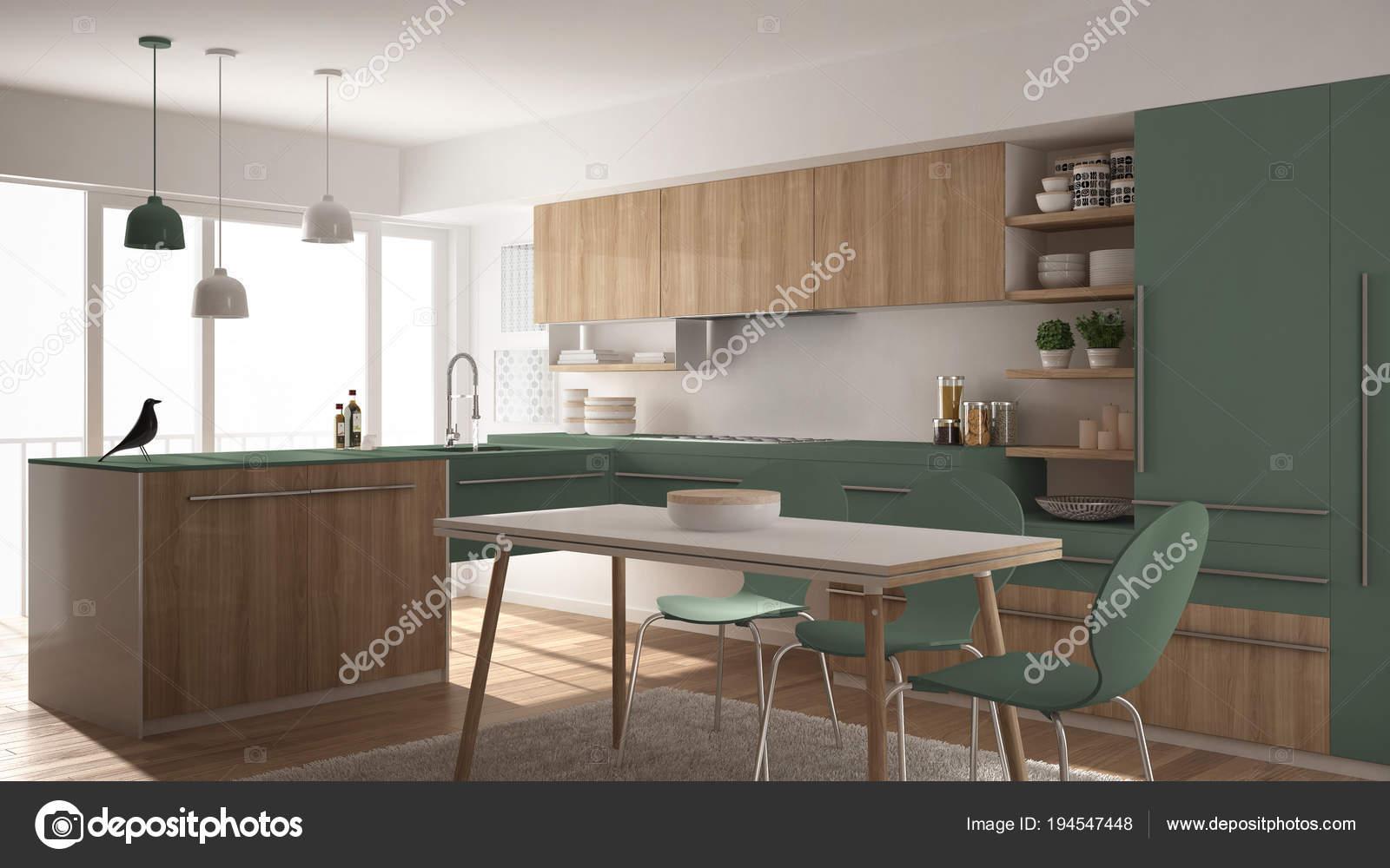 modern kitchen rugs island and stools 现代简约木制厨房配有餐桌 地毯 全景窗 白绿色建筑室内设计 图库照片 白绿色