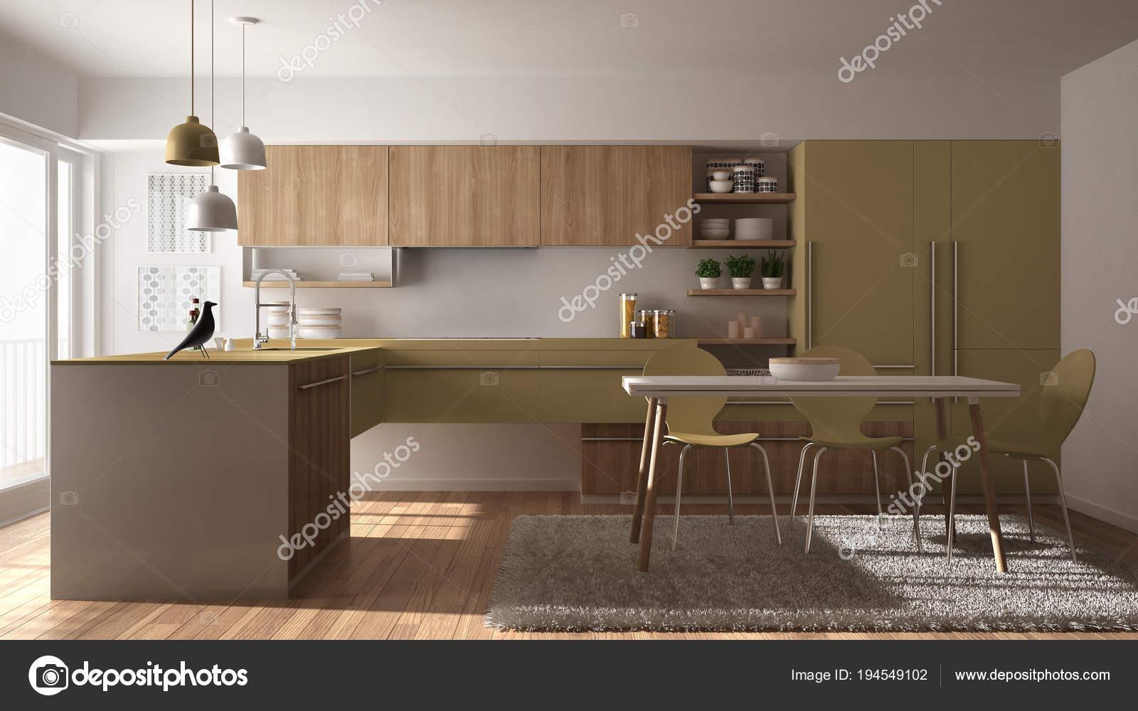 yellow kitchen rugs glass tiles for backsplash 现代简约木制厨房配有餐桌 地毯和全景窗 白色和黄色建筑内饰设计 图库 照片作者archiviz
