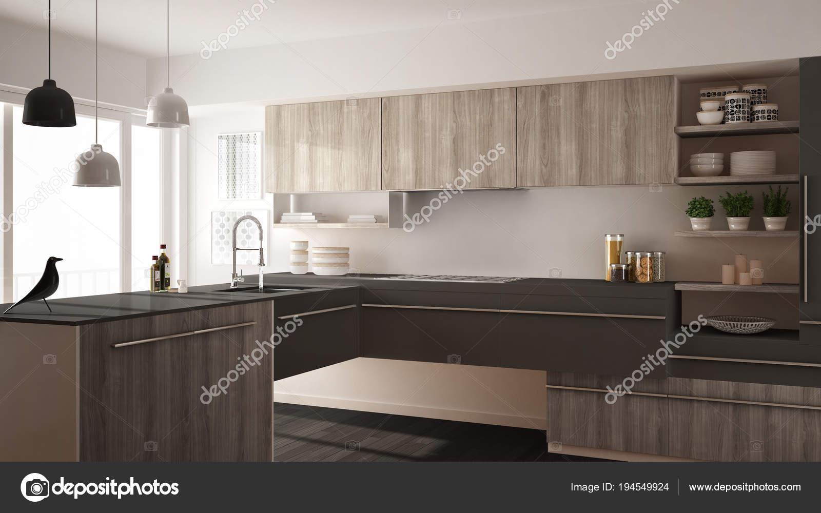 grey kitchen rugs corner table sets 现代简约木制厨房与实木复合地板 地毯和全景窗口 白色和灰色建筑室内 白色和灰色建筑室内设计 照片作者archiviz