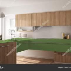 Modern Kitchen Rugs Single Bowl Undermount Sink 现代简约木制厨房与实木复合地板 地毯和全景窗口 白色和绿色建筑室内 白色