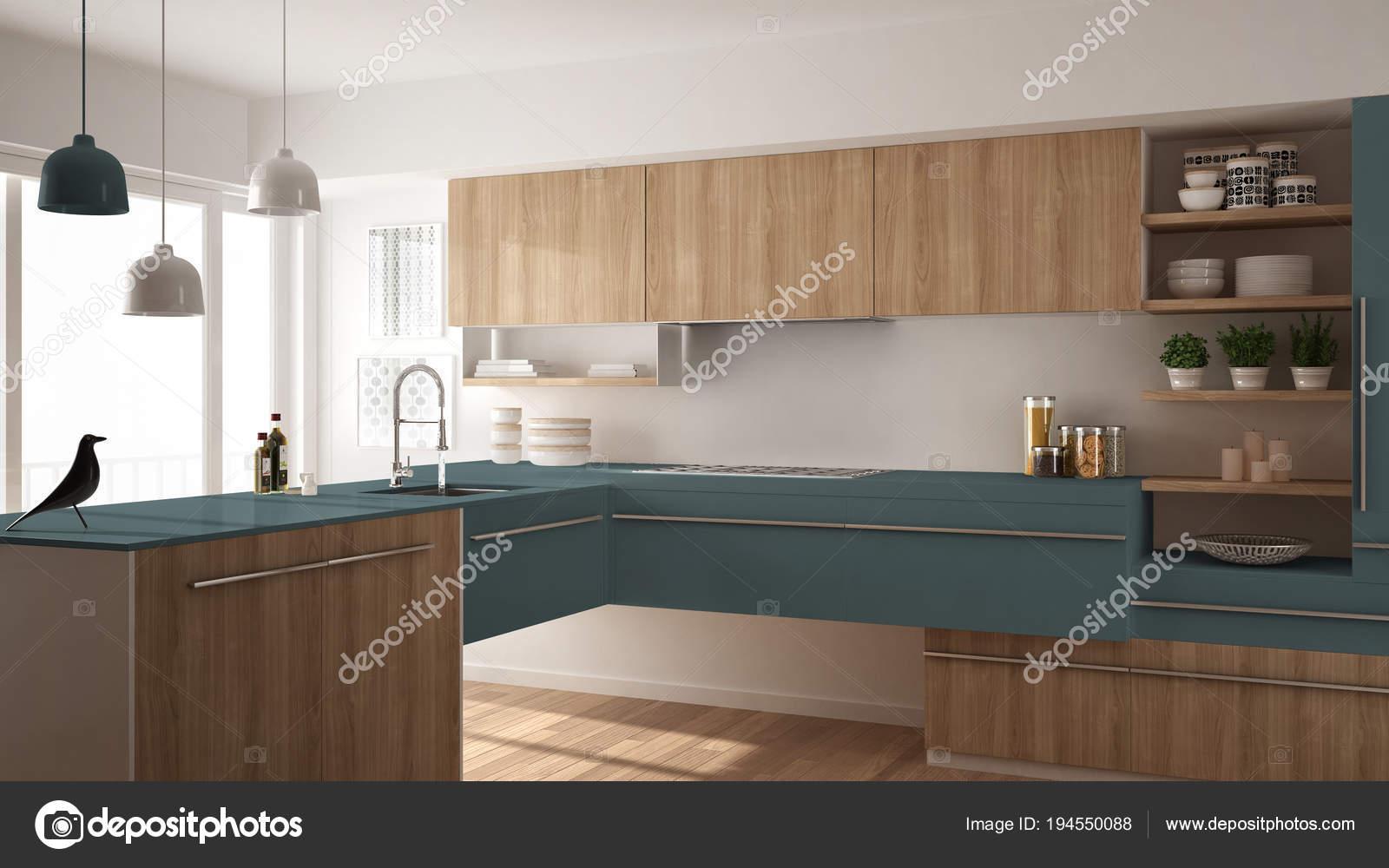 blue kitchen rugs furniture sets 现代简约木制厨房与镶木地板 地毯和全景窗口 白色和蓝色建筑学室内设计 照片作者archiviz