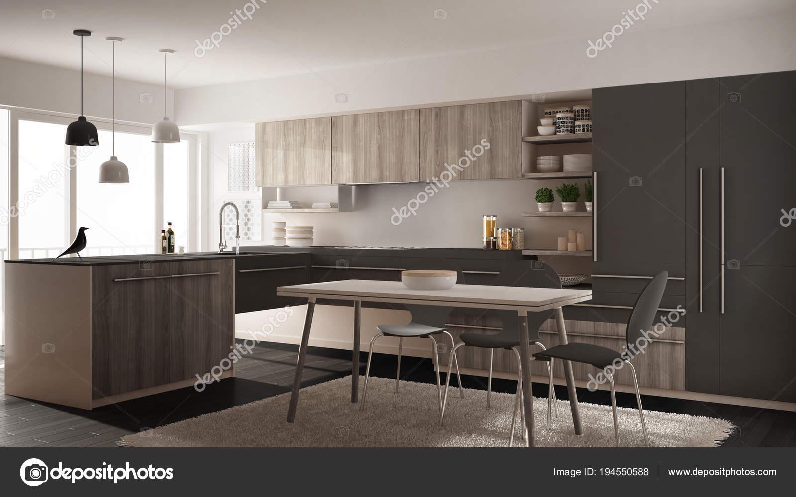 grey kitchen rugs fans with lights 现代简约木制厨房配有餐桌 地毯 全景窗 白灰色建筑室内设计 图库照片 白灰色