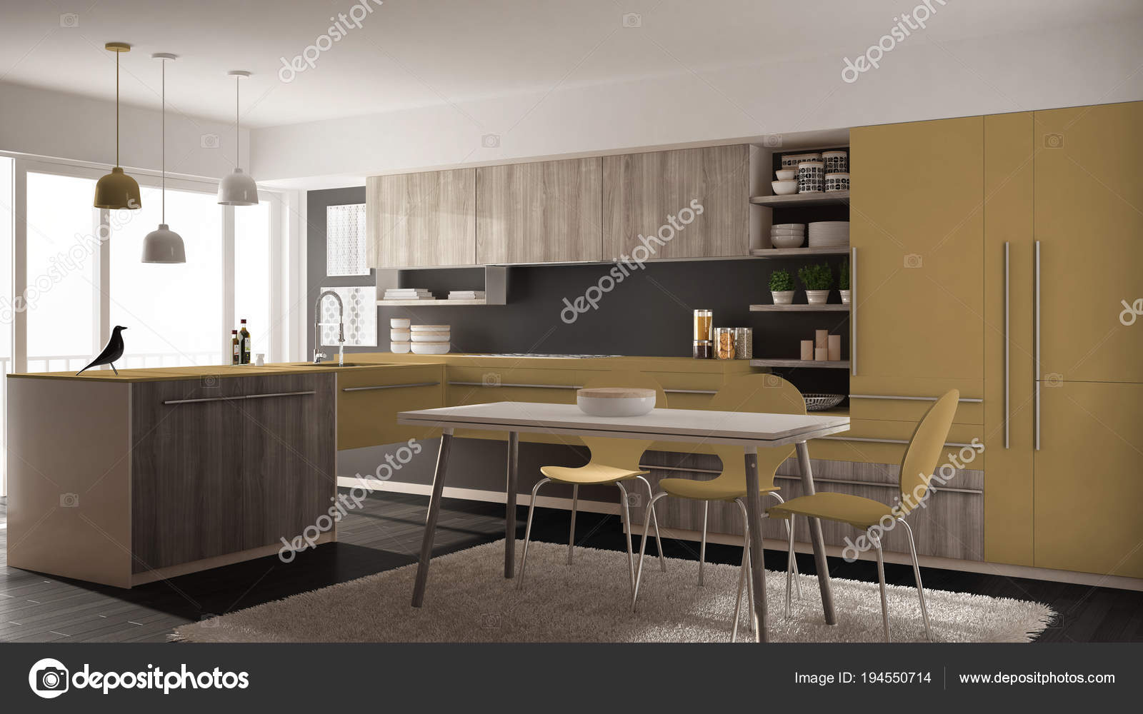 yellow kitchen rugs can we paint cabinets 现代简约木制厨房配有餐桌 地毯 全景窗 灰黄色建筑室内设计 图库照片 灰黄色