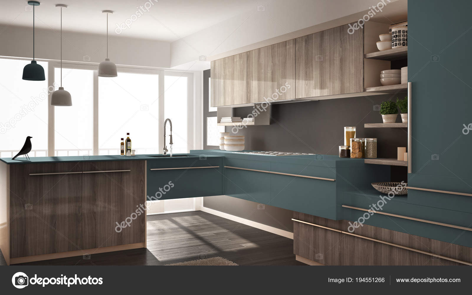 grey kitchen rugs paula deen 现代简约木制厨房与镶木地板 地毯和全景窗口 灰色和蓝色建筑学室内设计 灰色
