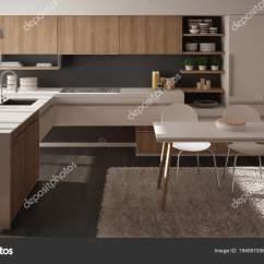 Grey Kitchen Rugs Online Design 现代简约木制厨房配有餐桌 地毯 全景窗 白灰色建筑室内设计 图库照片 白灰色