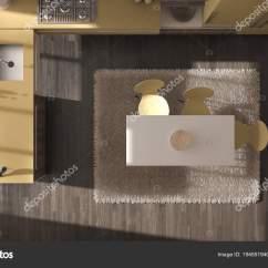 Yellow Kitchen Rugs Corner Storage 顶级景观 现代简约木制厨房与餐桌和地毯 黄色和灰色建筑室内设计 图库 黄色和灰色