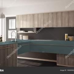 Blue Kitchen Rugs Gel Mats 现代简约木制厨房与镶木地板 地毯和全景窗口 灰色和蓝色建筑学室内设计 照片作者archiviz