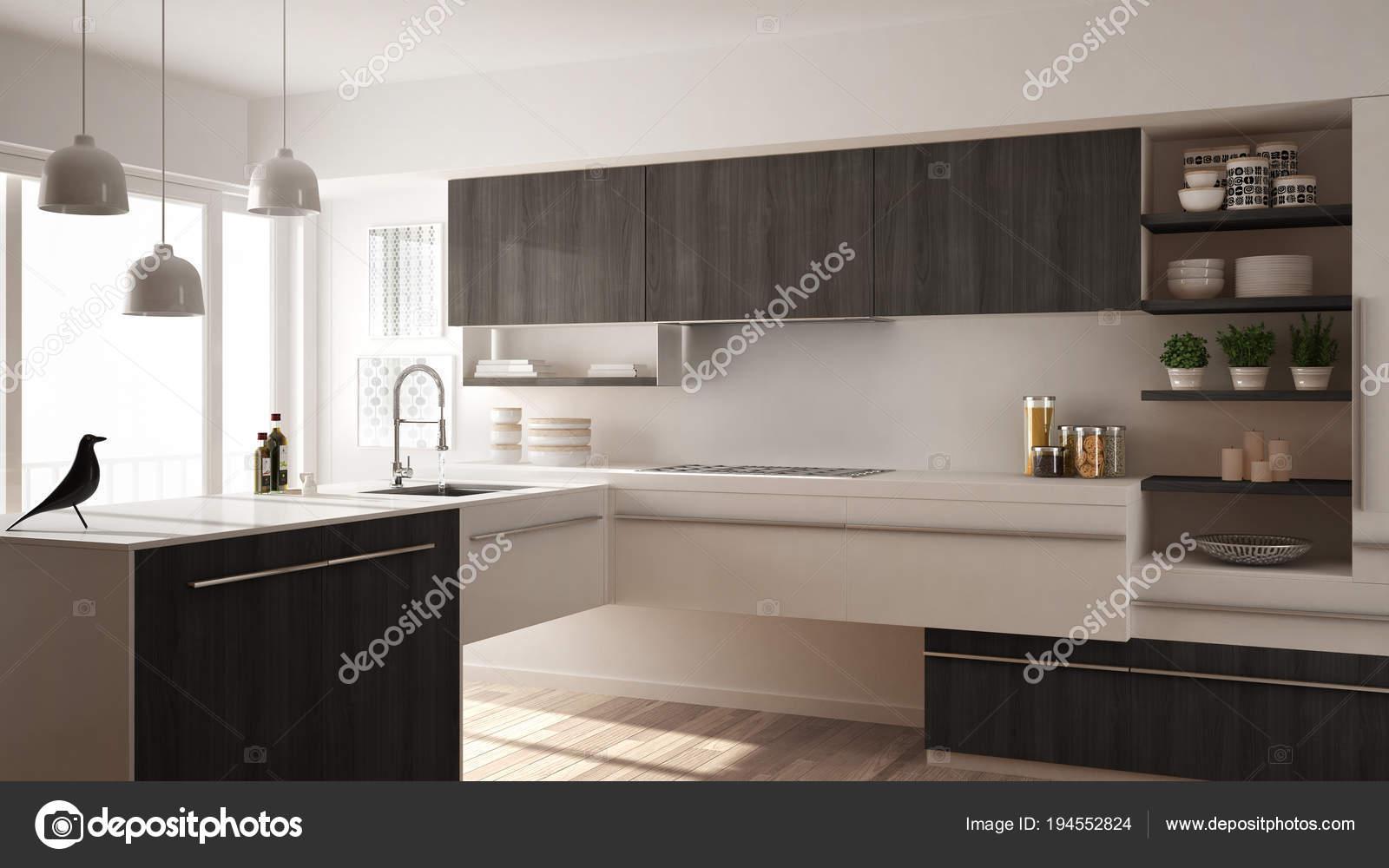 grey kitchen rugs mobile pantry 现代简约木制厨房与实木复合地板 地毯和全景窗口 白色和灰色建筑室内 白色和灰色建筑室内设计 照片作者archiviz