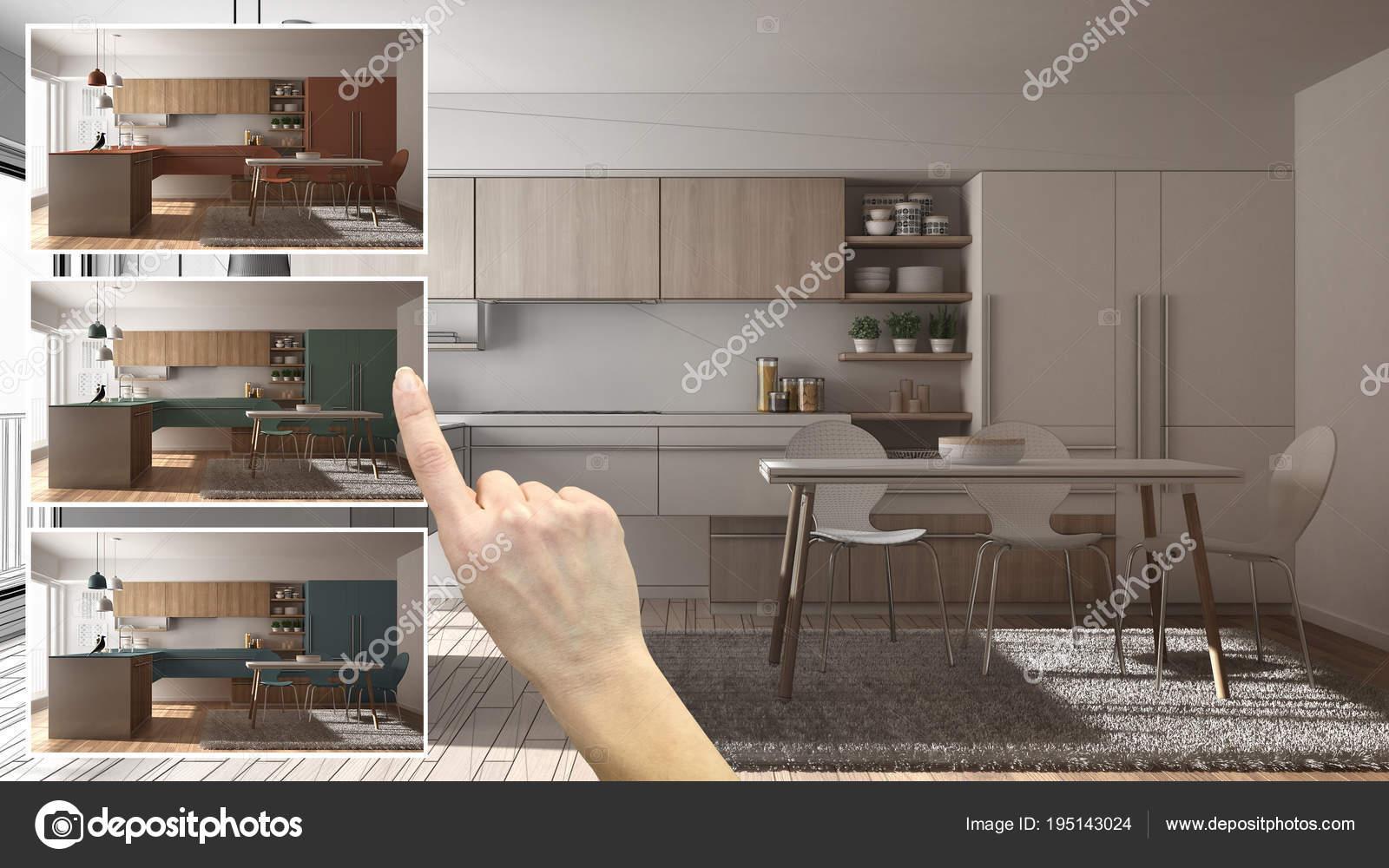 kitchen samples angled cabinets 建筑师设计师概念 手展示厨房颜色不同的选择 室内设计项目草稿 拾色器 材料样品 照片作者archiviz