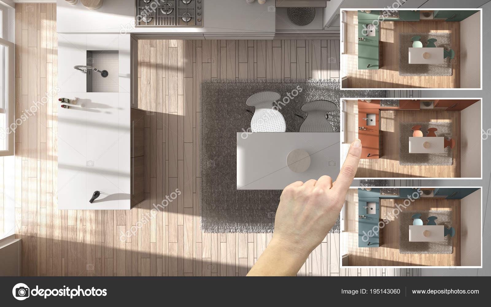 kitchen samples ikea rug 建筑师设计师概念 手展示厨房颜色不同的选择 室内设计项目草稿 拾色器 材料样品 照片作者archiviz