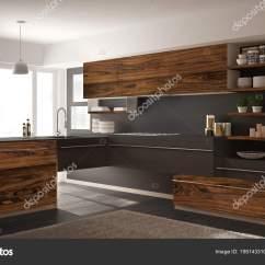 Grey Kitchen Rugs Chromcraft Chairs 现代简约厨房与经典木制配件 地毯和全景窗口 深灰色建筑室内设计 图库 深灰色