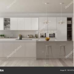 Folding Kitchen Island Green Rugs 白色折叠门打开现代简约厨房与海岛 白色室内设计 建筑师设计师概念 建筑师
