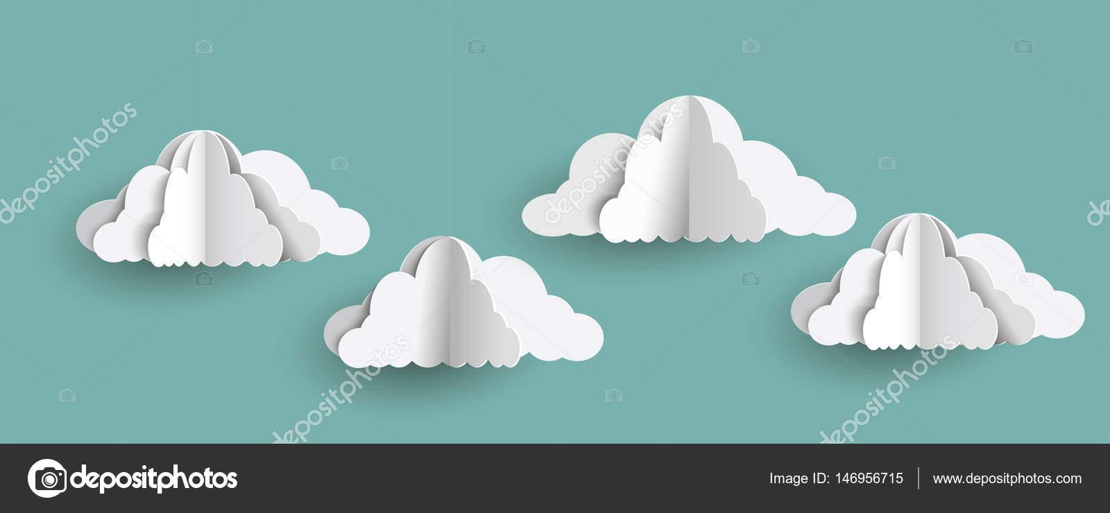 origami clouds in paper