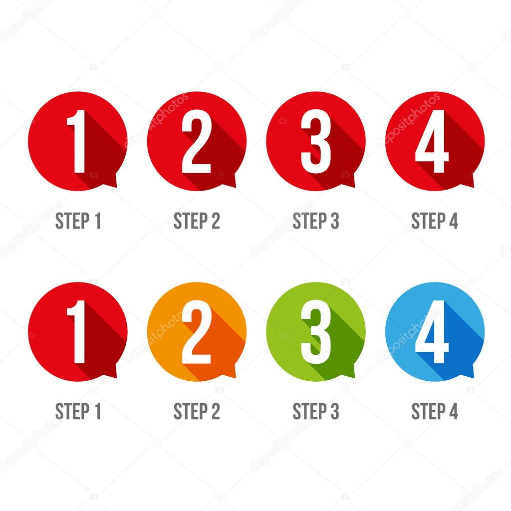 One two three four progress bar stickers  Stock Vector