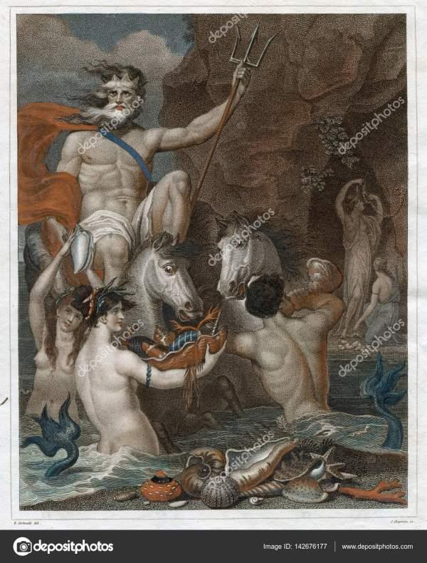 Vintage Art 1805 Neptune Poseidon Constructed Of