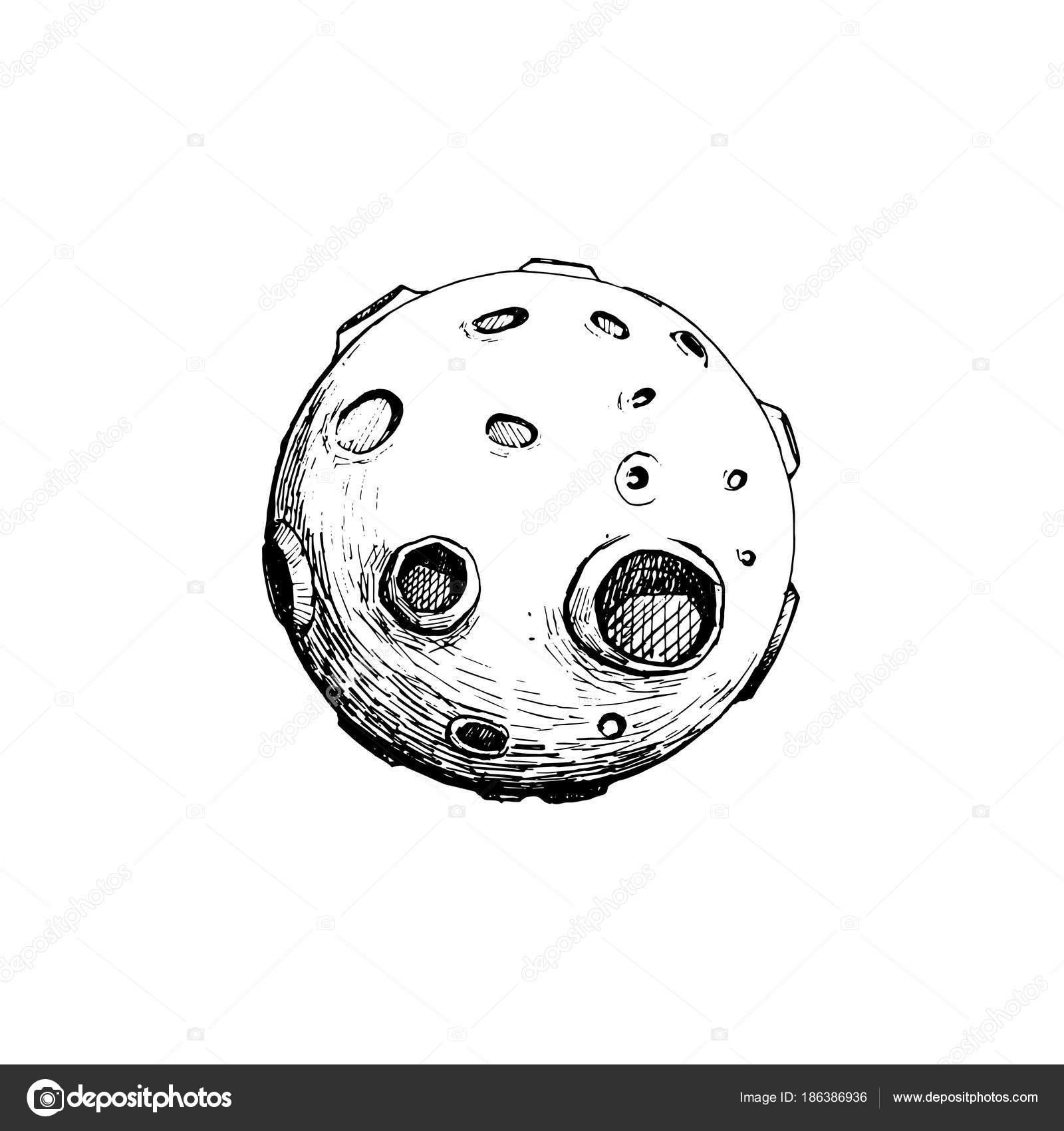 Dibujos Dibujo Luna Llena Luna Llena Con Cráteres Vector