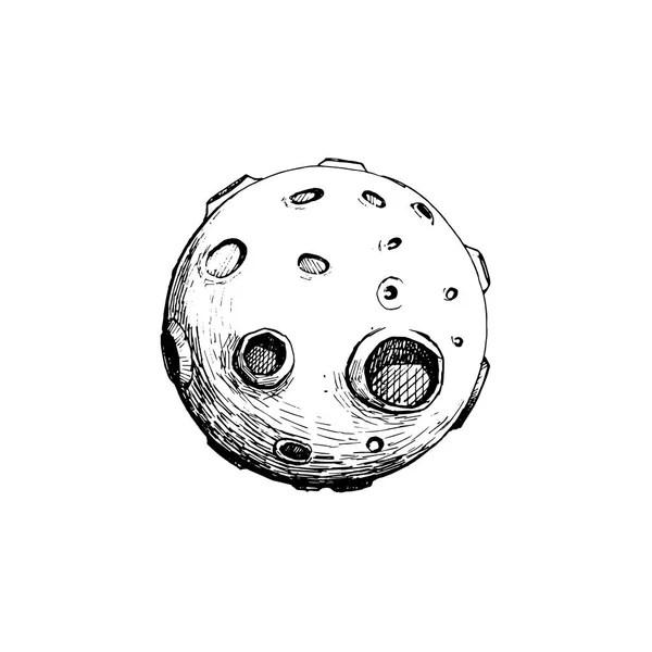 Maan met kraters. Vector tekening — Stockvector © Marinka