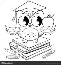 Gufo su libri con cappello di graduazione. Libro da