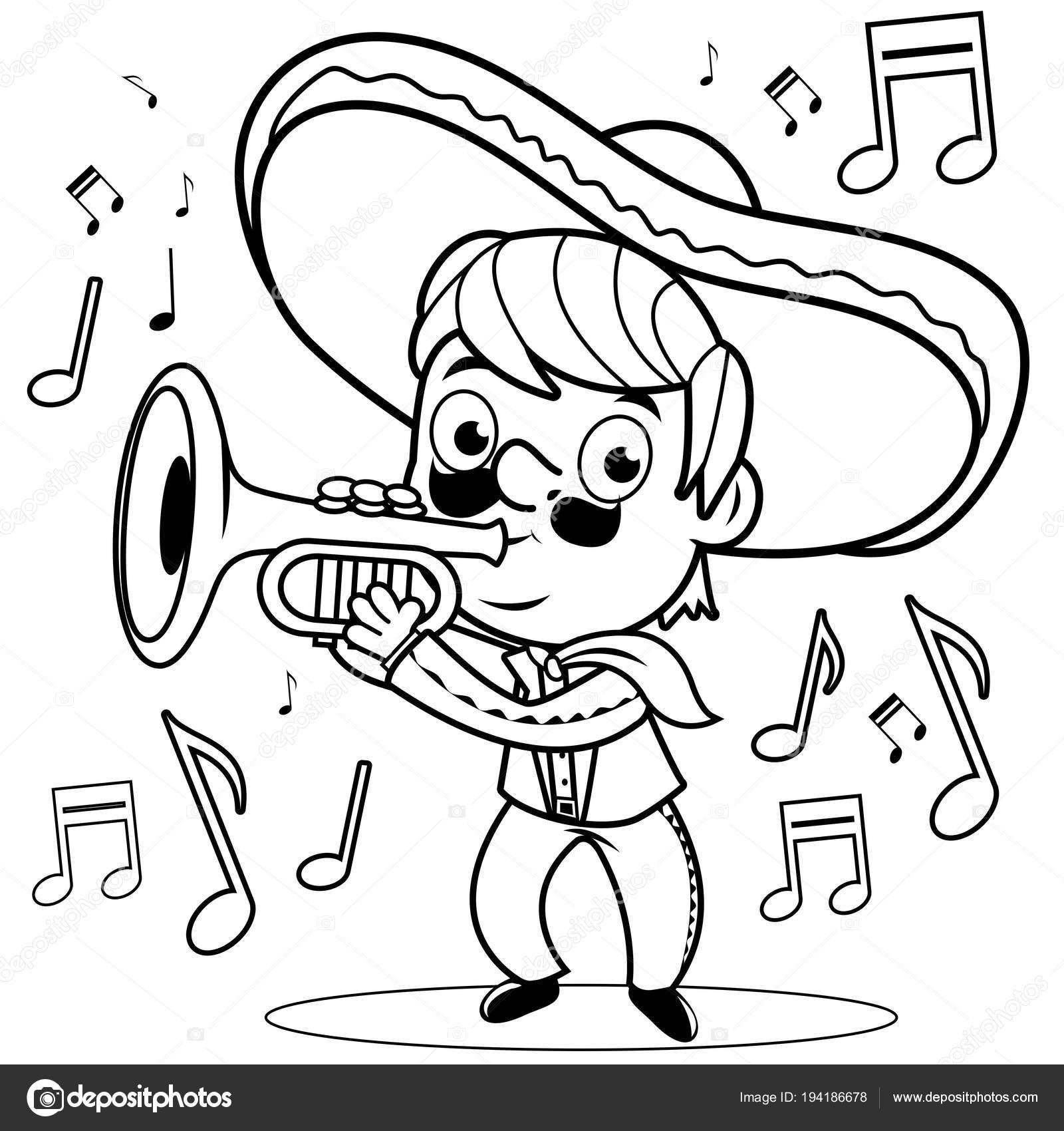 Mexicaanse Mariachi Man Spelen Van De Trompet Zwart Wit