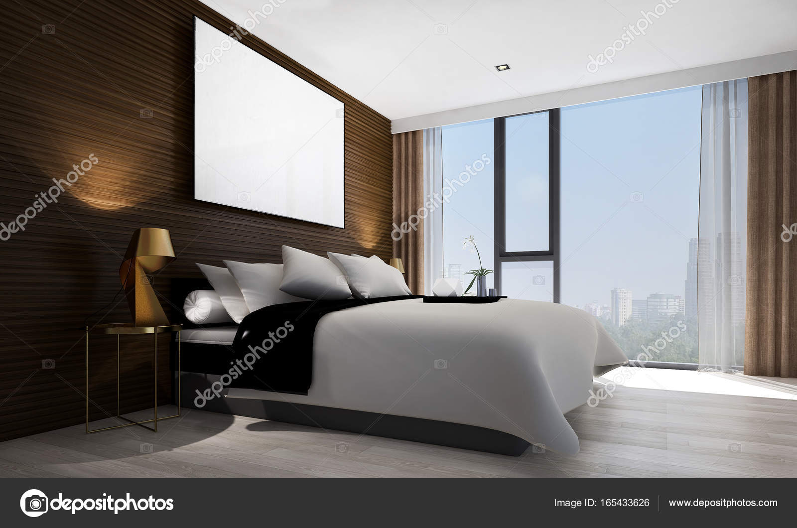 The Modern Bedroom Interior Design And Wood Wall Texture