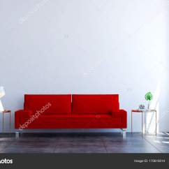 Red Sofa White Living Room Table The Interior Design Idea Of Minimal And 3d Rendering Luxury Photo By Teeraphan