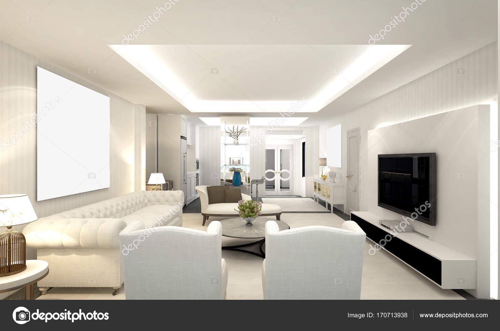 De luxe woonkamer en witte muur patroon design interieur