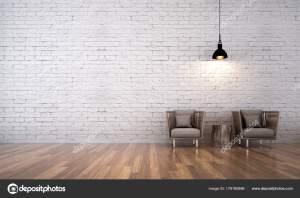 interior living minimal background wall brick pattern idea 1600 depositphotos