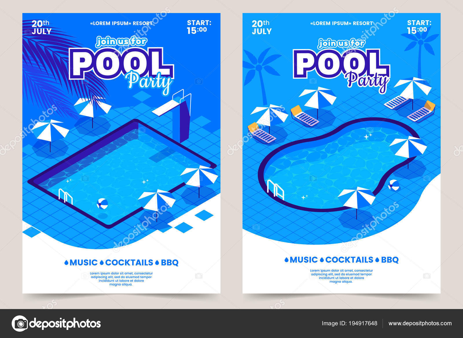 Summer Pool Party Invitation Poster. Isometric Water Swimming Pool With Sun  Beds, Umbrellas And
