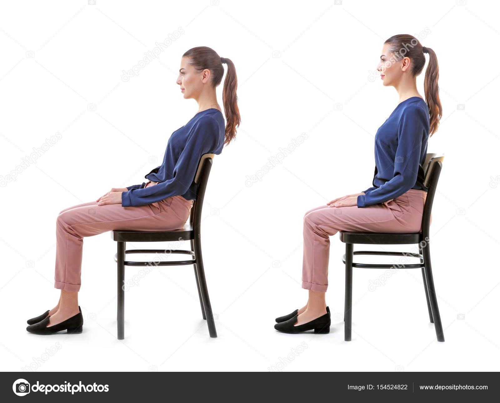 bad posture in chair office high rehabilitation concept collage of woman with poor and