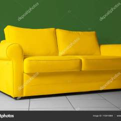 Bright Sofa Large Oval Shaped Yellow Stock Photo C Belchonock 172510564 Against Green Wall Indoors By