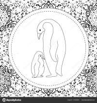 Disegni da colorare. Pinguino madre si leva in piedi con ...