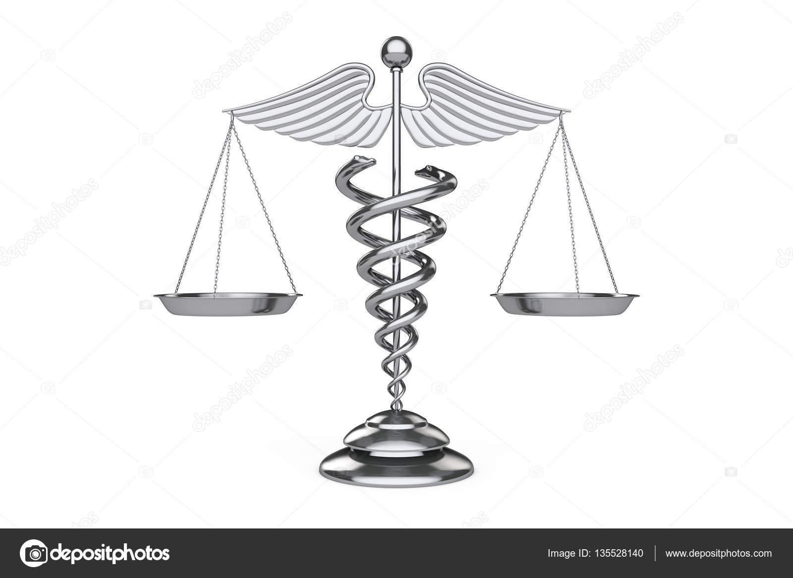 Medical Caduceus Symbol As Scales 3d Rendering