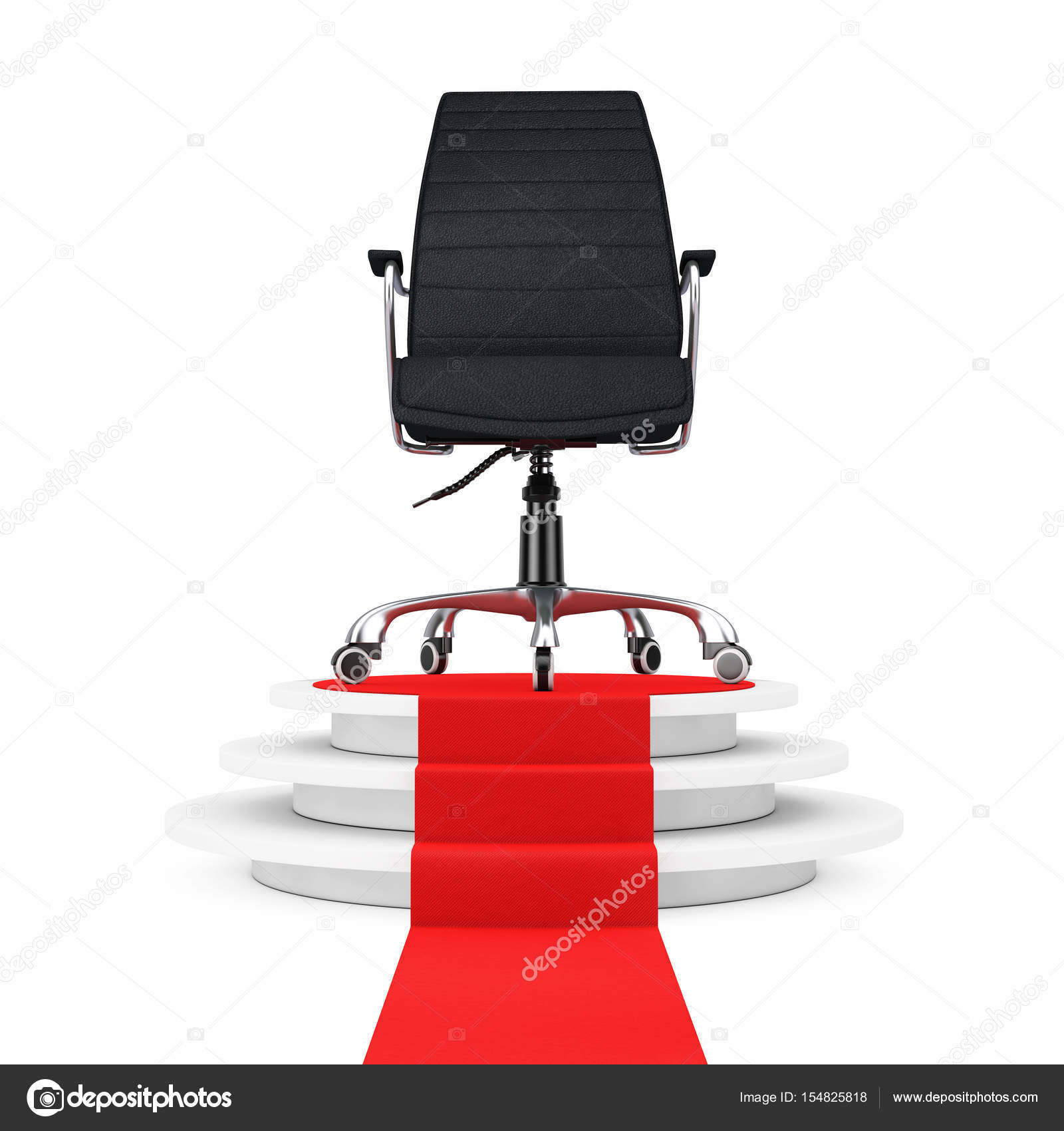 office chair pedestal pottery barn napoleon black leather boss over round white with s stock image