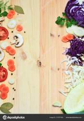 Template for menu light wood background on it cut vegetables Stock Photo © natka80 #181871404