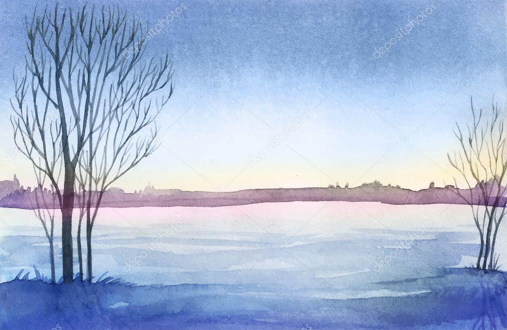 Paesaggio invernale Illustrazione di paesaggio dellacquerello B Natale  Vettoriali Stock