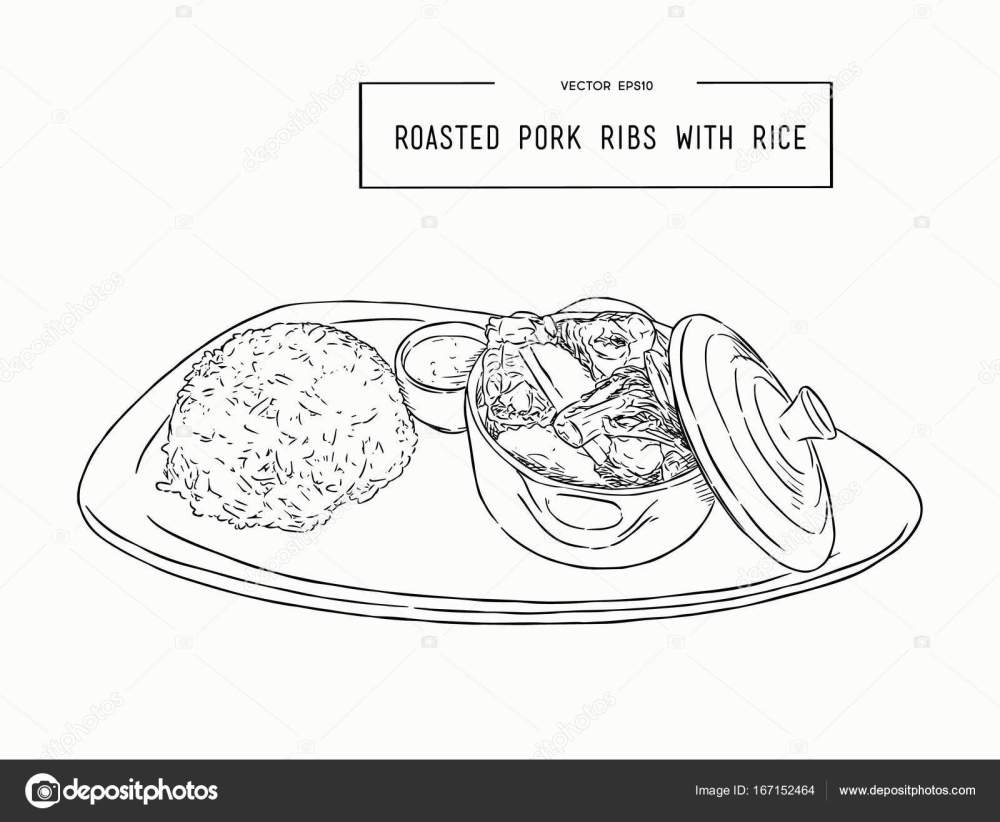 medium resolution of rosted pork rib rice hand draw sketch vector stock vector