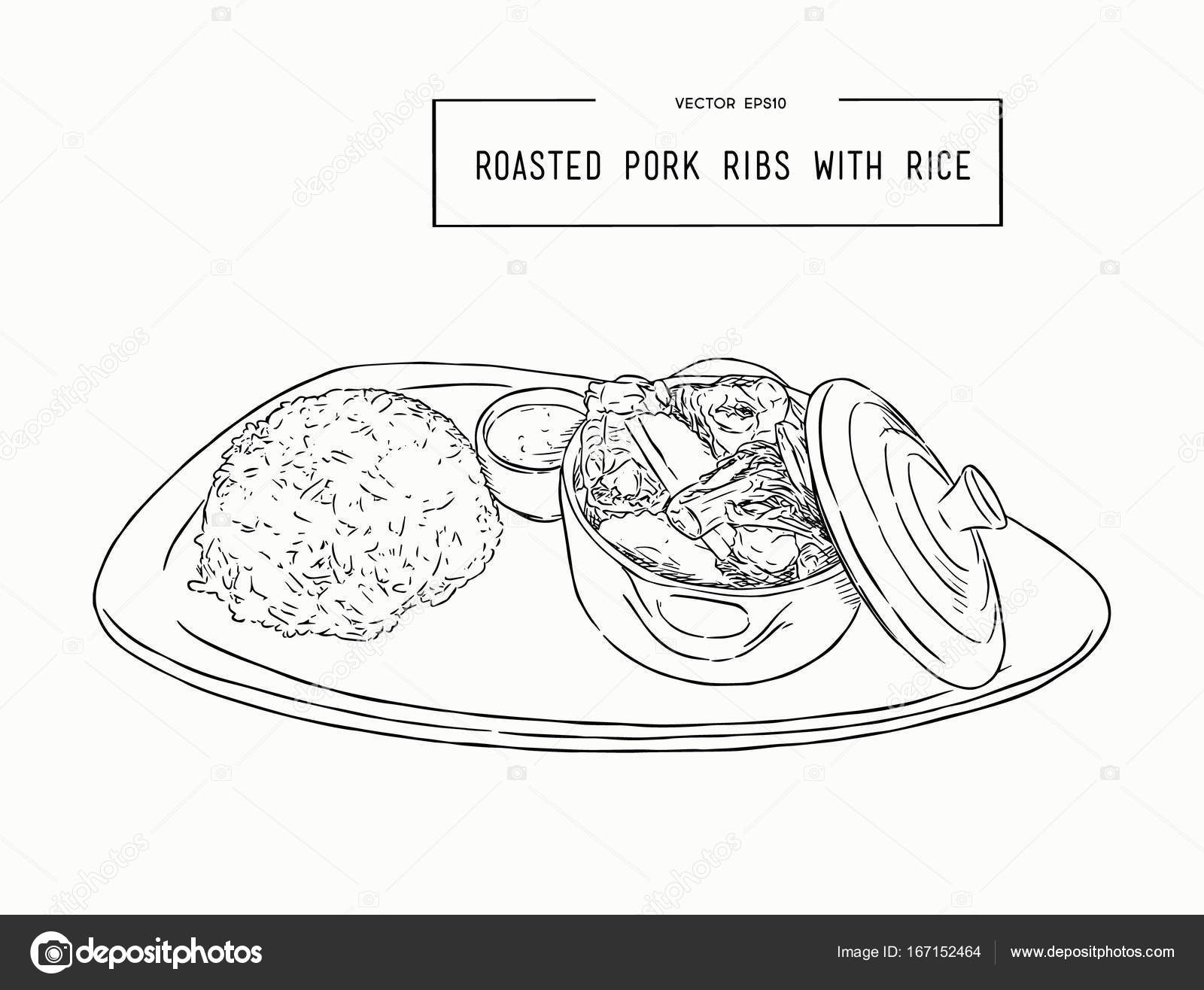 hight resolution of rosted pork rib rice hand draw sketch vector stock vector