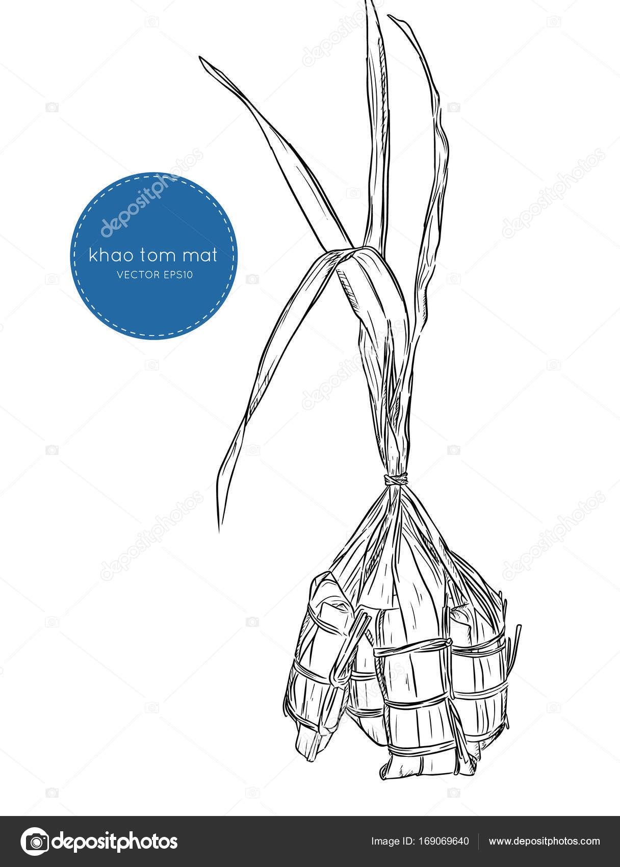 hight resolution of bananas with sticky rice khao tom mat or khao tom pad hand draw sketch vector